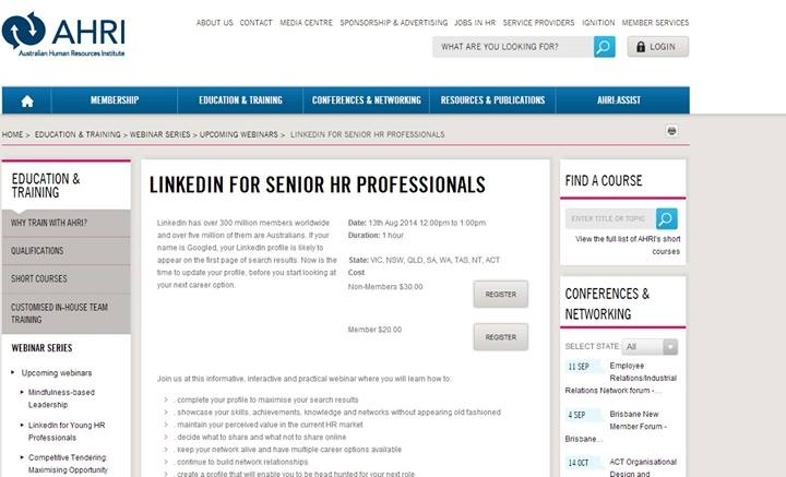 Australian Human Resources Institute LinkedIn for Senior HR Professionals Webinar